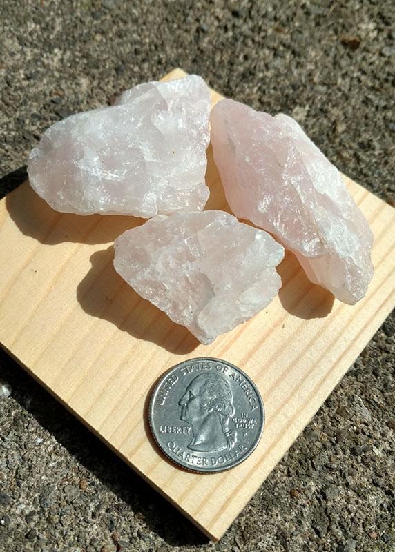 rose quartz for scale