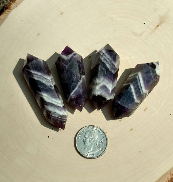 double terminated chevron amethyst cut points