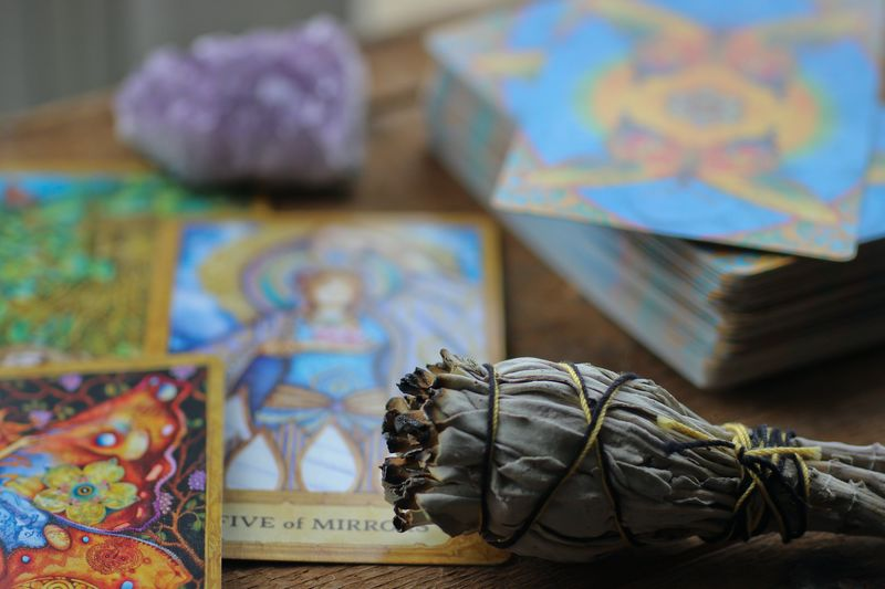 tarot cards, sage and amethyst