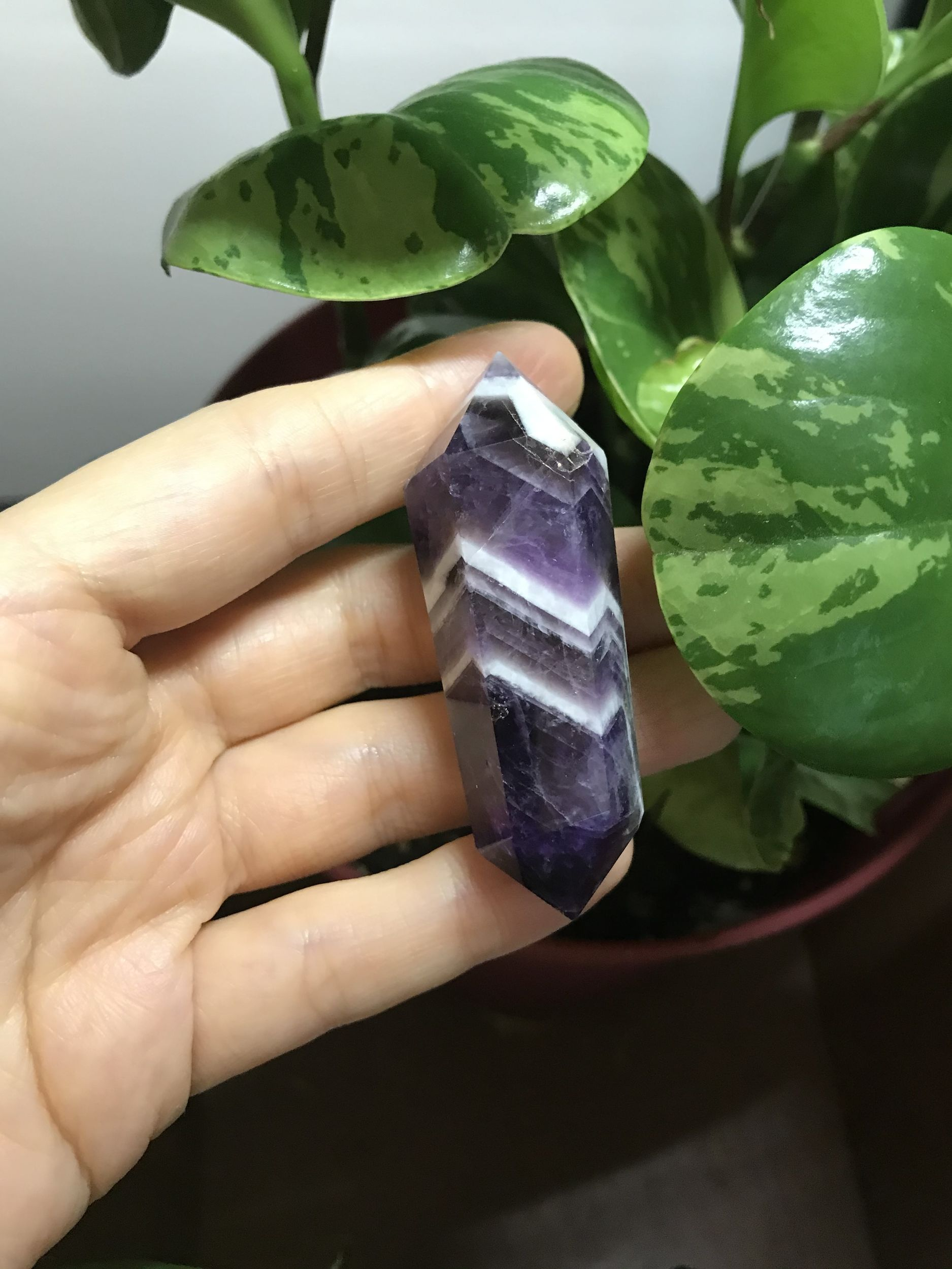 Chevron Amethyst Double Terminated Carved Crystal for Chakra Healing