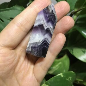 Chevron Amethyst Single Terminated Carved Crystal Point