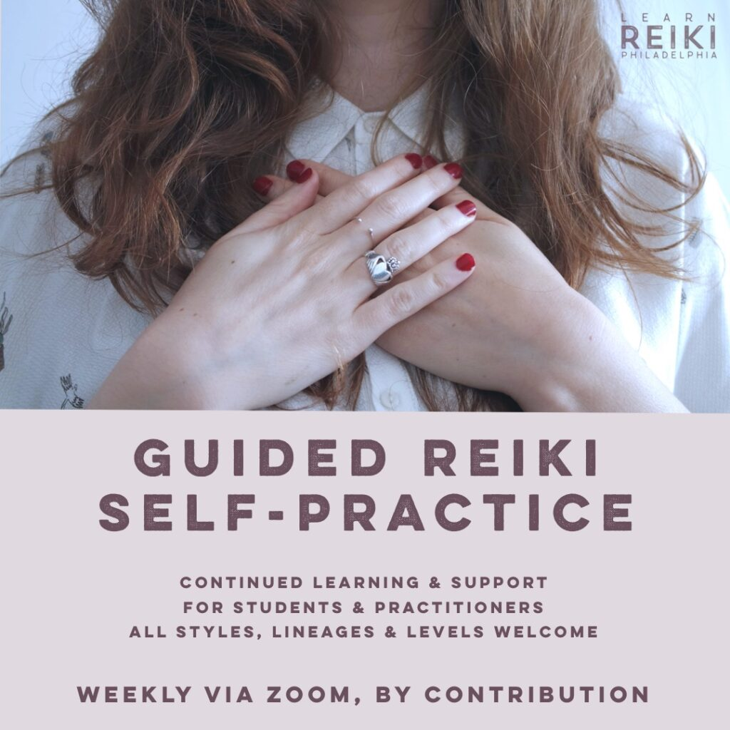 guided reiki self practice woman with hands on her heart